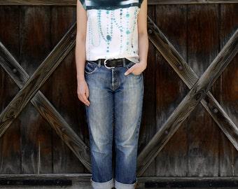 silk hand painted shirt.  BLACK IKAT DOTS.  made to order - Custom sizing