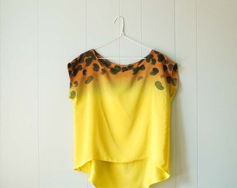 Ombre Silk Shirt.  Cheetah - hand dyed and painted blouse.