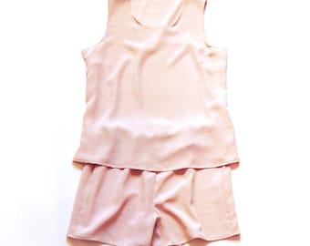 Silk Pajama.  Silk Sleepwear.  Natural Dye Silk Tank and Shorts Set.