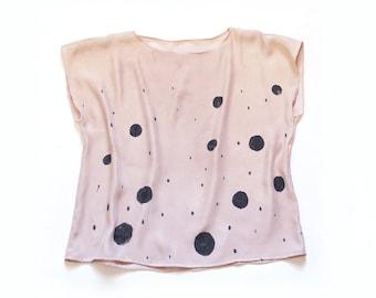 Natural Dye Silk blouse - Blush pastel silk blouse spring silk top silk tee pink nude top