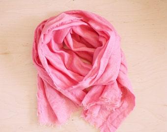Natural dye Silk Scarf pink gold gift idea