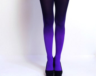 Ombre tights Violet and black - hand dyed opaque tights.