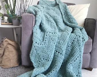 Comfortable chevron blanket - light teal crochet ripple afghan throw, cozy throw blanket home decor