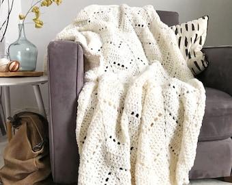 Comfortable chevron blanket - cream & white crochet afghan throw, cozy throw blanket