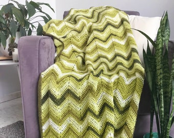 Chevron blanket - green ombre ripple crochet afghan urban jungle throw