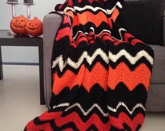 Halloween blanket - Halloween decor spooky orange and black chevron crochet afghan throw