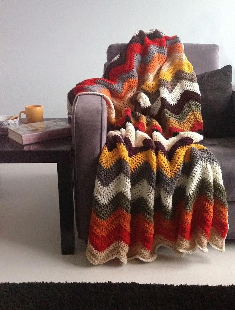 Chevron blanket  Falling for multicolor autumn crochet afghan image 0