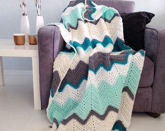 Chevron blanket - Teal & mint crochet afghan throw