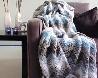 Crochet afghan - Blue gray sparkle winter - afghan crochet chevron throw