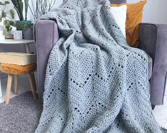 Comfortable chevron blanket - light gray crochet ripple afghan throw, cozy throw blanket home decor