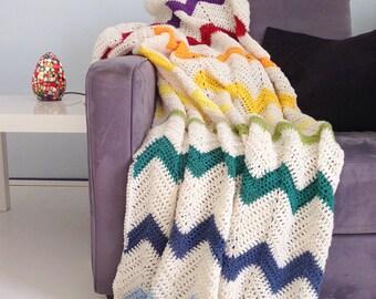 Rainbow blanket - cream white multi color crochet chevron afghan throw