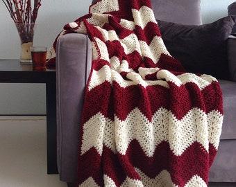 Crochet chevron afghan blanket Burgundy red and cream