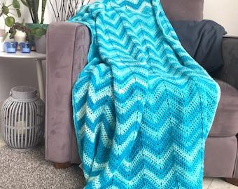 Chevron blanket - blue ombre ripple crochet afghan throw