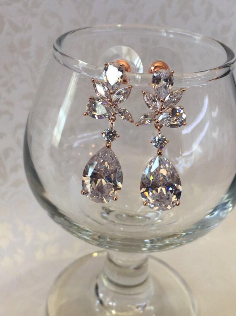 Rose Gold Wedding Earrings