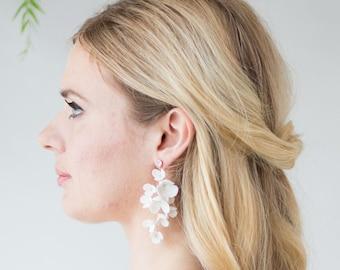 Isla Statement Ivory Clay Flower Wedding Earrings