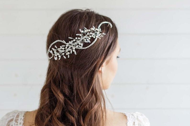 Handmade Trailing Hair Vine Coral Peach Ivory Rose Wedding Bridal Tiara Boho