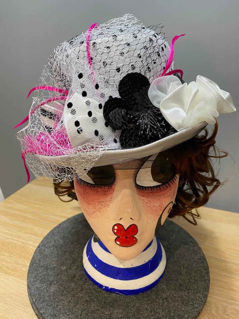 White Fuchsia Pink Black Top Hat Steampunk Circus Ring Costume