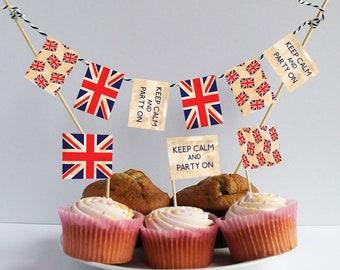 200 Union Jack Sandwich Party Flags Food Cupcake Sticks Picks Royal Wedding Deco