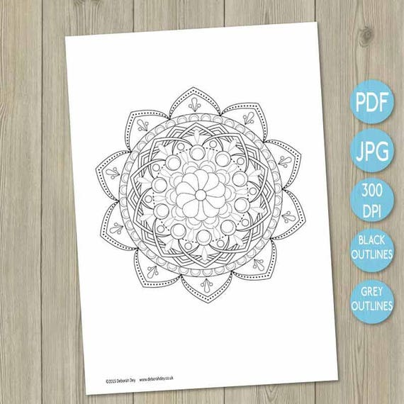 Printable Mandala printable adult colouring in adult coloring book coloring  book Indian inspired art therapy colour therapy illustration