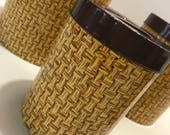 Vintage Four Piece Nesting Retro Tin Canister Set of 4 Floral Basket Weave Litho Print Harvest Gold Yellow Brown 70s Kitchen Complete Set