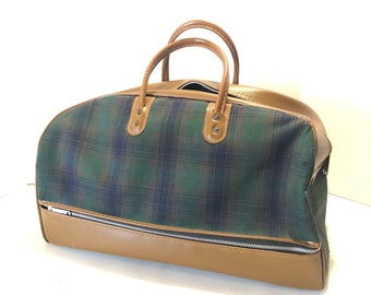 8bdccd6aaa5e Vintage Navy Blue Green Tartan Plaid Soft Sided Canvas Luggage Overnight Bag  w  zipper Suit Case Carry On Doctor Bag Satchel Brown Vinyl