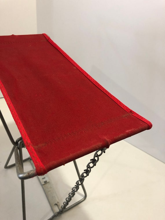 Remarkable Vintage Small Camp Stool Fold Up Canvas Bench Collapsible Glamping Campfire Hunting Rustic Decor Galvanized Metal Red Ibusinesslaw Wood Chair Design Ideas Ibusinesslaworg