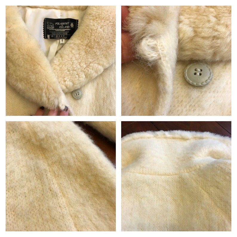 CLEARANCE Vintage Gorgeous Icelandic Wool Polar Knit Wrap Sweater Robe Coat Belted Tie Lined Sherpa 100/% pure wool S Small Ivory Off White