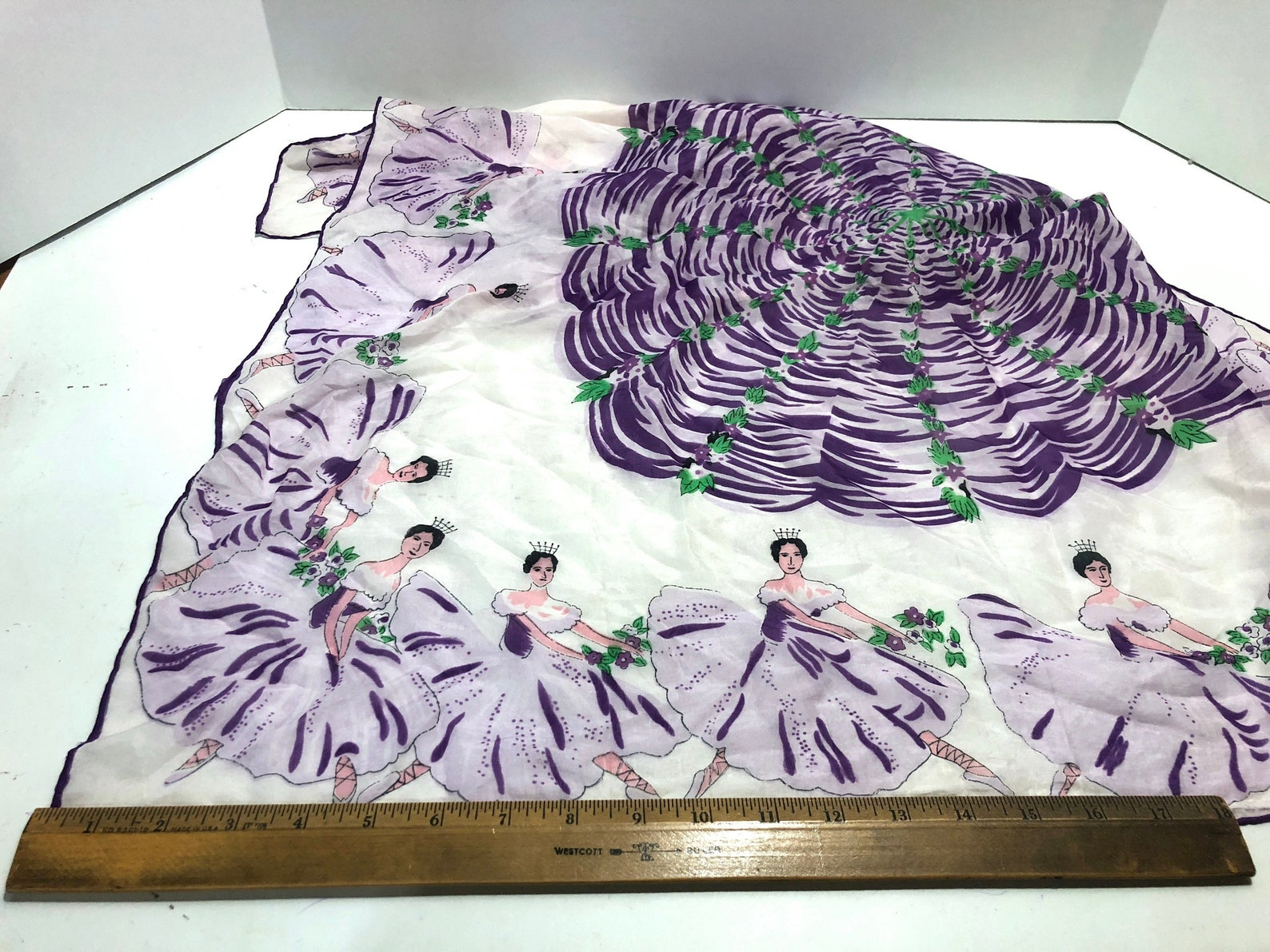 vintage large silk novelty scarf kitsch collectible ballet dancer girls dancing point shoes tutu waltz of the flowers purple lav