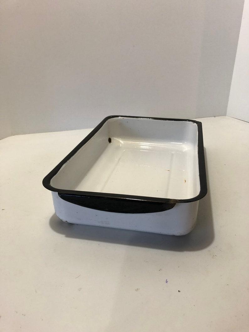 Vintage Black White Enamel Refrigerator Drawer Box Storage Etsy
