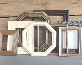 Espresso, Bronze, Chestnut, Ivory Picture Frames w/GLASS Modern CHUNKY Gallery Wall Painted Frame Set of 8 Upcycled Frames