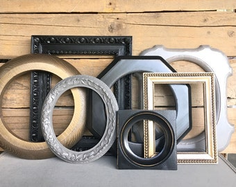 Black Bronze Grey Farmhouse CHUNKY Vintage Frames Set of 7 - Upcycled Frames Rustic modern farmhouse Gallery Wall Frames Collection