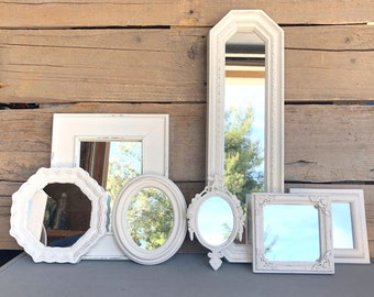 Heirloom (Antique) White Mirrors.. set of 7 Farmhouse Mirror Collection Gallery wall
