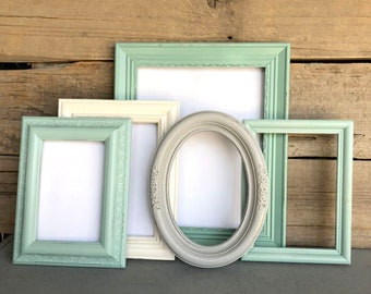 Mint Jade Grey Heirloom White Frame Set of 5 with GLASSFrame Collection Mint Gray Cream
