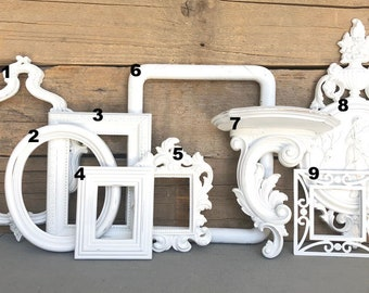 You CHOOSE which WHITE Frame You want... individual OPEN frames,plaque or shelf make you own Gallery wall Custom Farmhouse White Collection