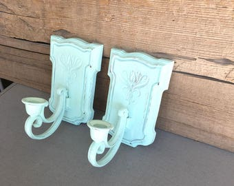 Mint Candle Sconces..Upcycled Vintage Homco Candleholders...Sea Green Ocean Decor Nursery Mint coral white