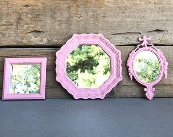 PINK Mirrors.. set of 3 Farmhouse Mirror Collection Add to Gallery wall Small set Bathroom Nursery Office Vanity Cottage Beach Chic