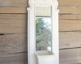Heirloom White Wall Pocket Upcycled Vintage Ornate Vintage Homco Creamy White Farmhouse Chic Antique Kitchen Craft Room