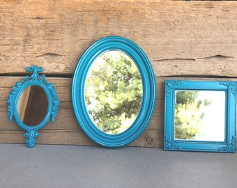 TEAL  Mirrors.. set of 3 Farmhouse Mirror Collection Add to Gallery wall Small set Bathroom Nursery Office Vanity Cottage Beach Chic