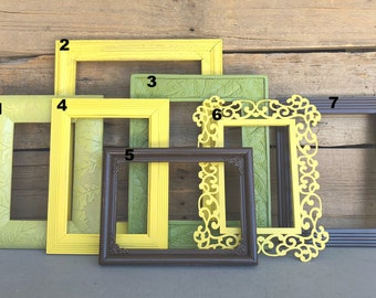 You CHOOSE which Frame You want Yellow Greens Espresso... Mix n Match OPEN frames, make you own Gallery wall Custom Farmhouse Collection