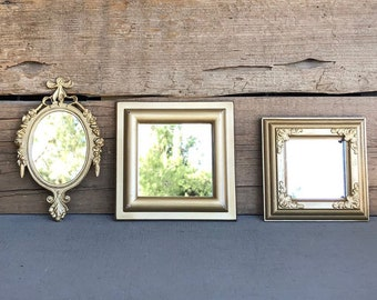 GOLD Mirrors.. set of 3 Farmhouse Mirror Collection Add to Gallery wall Small set Bathroom Nursery Office Vanity Cottage Hollywood Glam