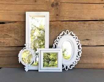 White Mirrors.. set of 4 Farmhouse Mirror Collection Add to Gallery wall Small set Bathroom Nursery Office Vanity Cottage Beach Chic