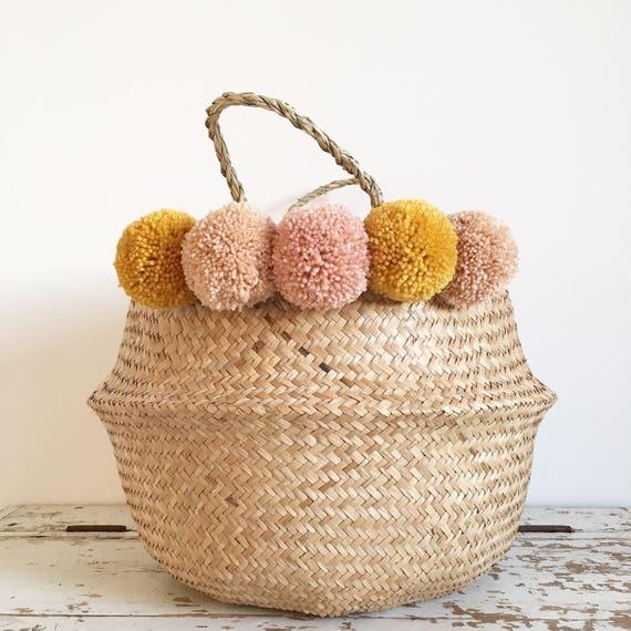 ae7b89677c Large seagrass pompom basket bag storage nursery for Toy of laundry