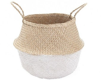 Large Dipped white seagrass basket storage nursery for Toy of laundry , panier boule