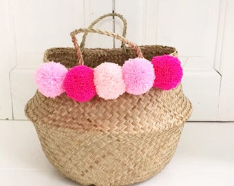 Seagrass pompom basket storage nursery for toy of laundry , panier boule pink