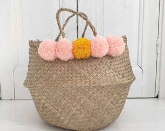 Large seagrass pompom basket bag storage nursery for Toy of laundry , panier boule