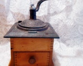 Vintage 1800 39 s Reproduction From the 1960 39 s, Dovetailed Wood and Embossed Iron Coffee Mill or Grinder with Dispenser Drawer