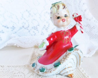 Adorable Lefton Christmas Ornament Bell, 1950's Holiday Girl with Candy Cane #A56
