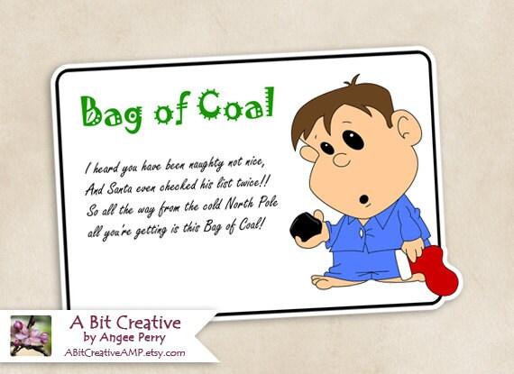 Bag of Coal Christmas Stocking Stuffer Gag Gift Design DIY | Etsy