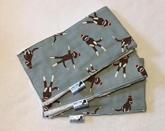 Set of 3 Sock Monkey Burp Cloths