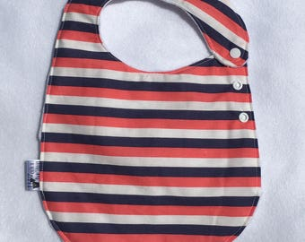 Circus Stripe Adjustable Side Snap Bib with Minky Back